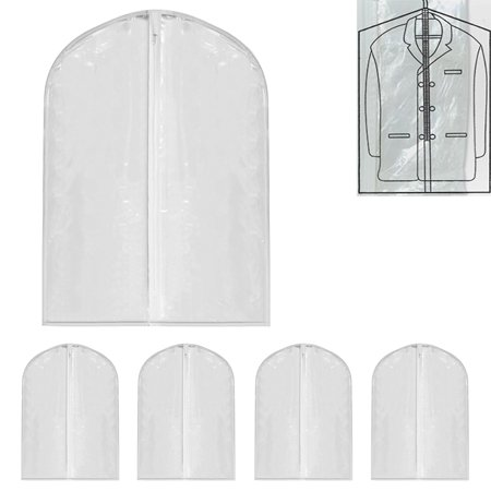 "5 Lot 40"" Garment Bag Suit Dress Storage Travel Clothes Coat Carrier Cover Clear"