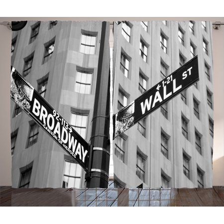 Nyc Decor Curtains 2 Panels Set, Street Signs Of Intersection Of Wall  Street And Broadway Finance Art Destinations Photo, Living Room Bedroom ...