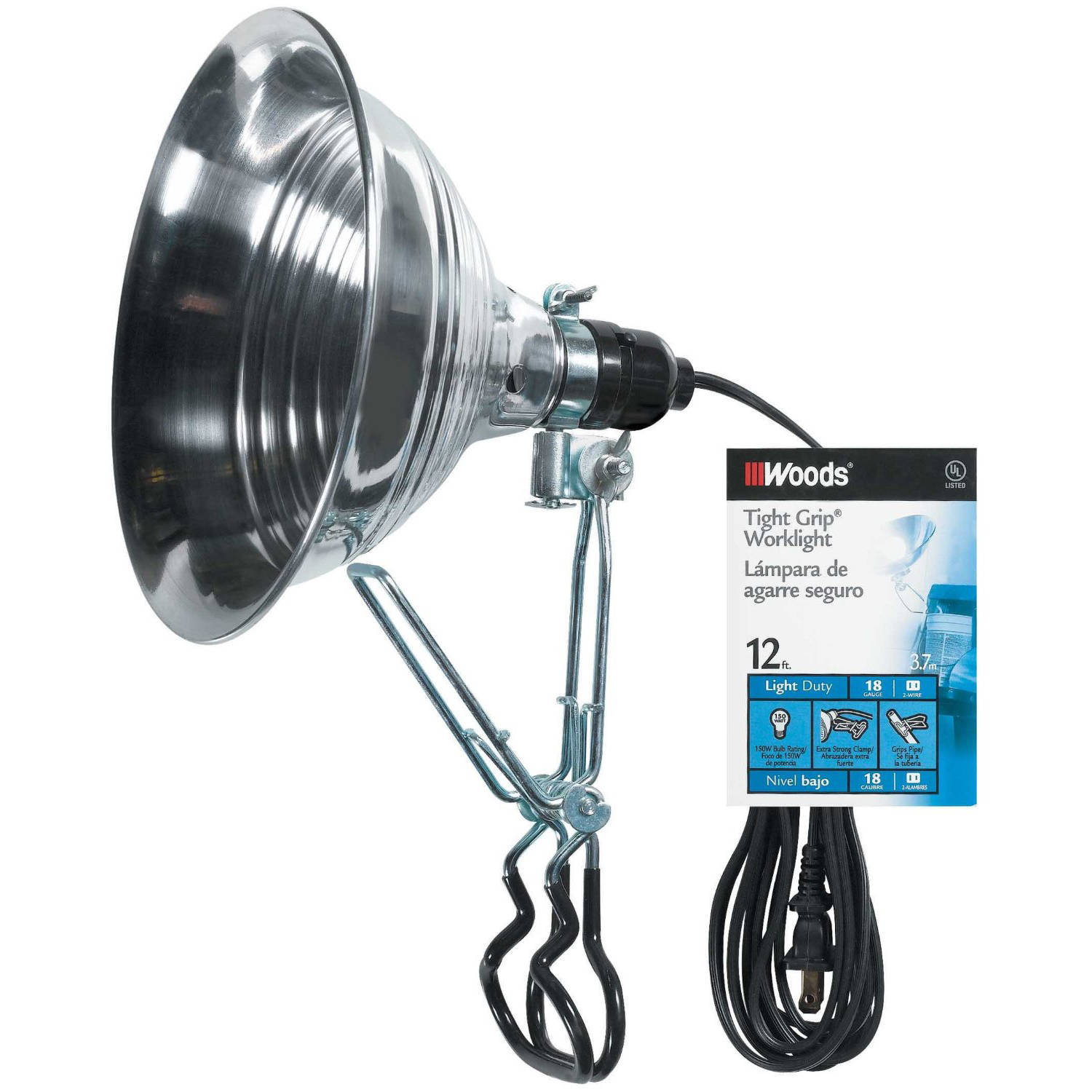 Woods 2839 18/2-Gauge SPT-2 Tight Grip Clamp Lamp with Reflector, 150-Watt, 8.5-Inches, 12-Foot