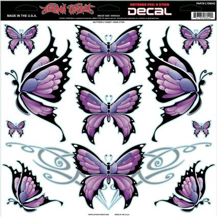 Lethal Threat 12x12 Decal Sticker Sheet Butterfly/Purple