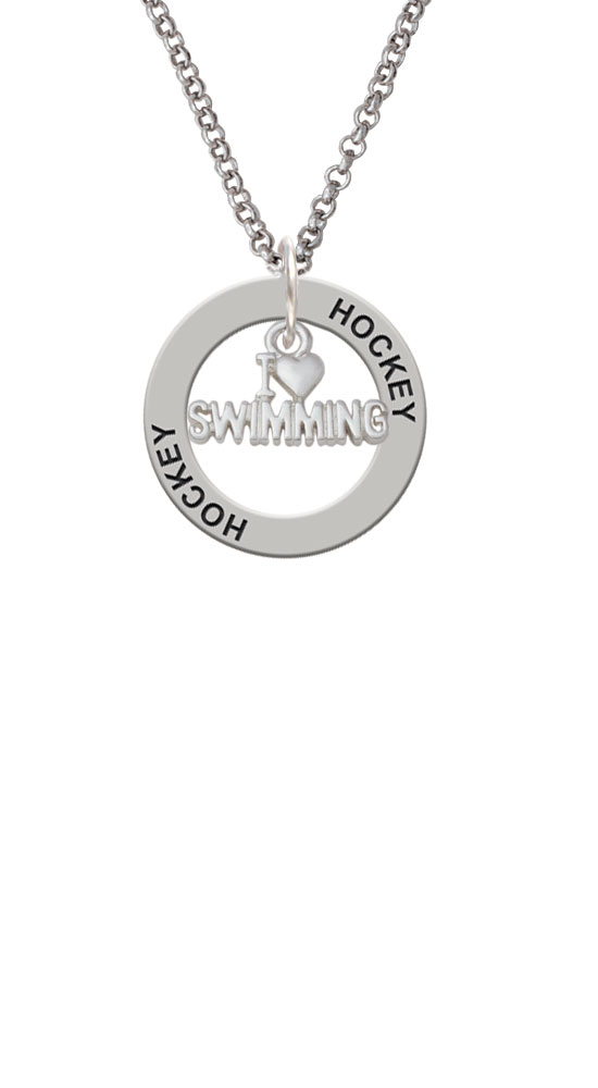 I Heart Swimming Hockey Affirmation Ring Necklace by Delight and Co.
