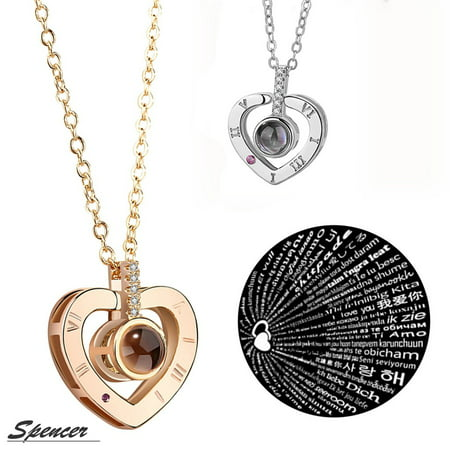 "Spencer 100 Languages Light Projection for ""I Love You"" Heart Pendant Necklace for Mum"