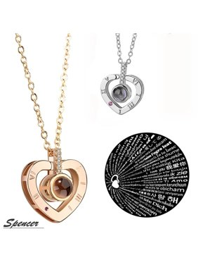 "Spencer 100 Languages Light Projection for ""I Love You"" Heart Pendant Necklace for Mum's Thanksgiving Gift Girls Valentine's Gift ""Gold"""