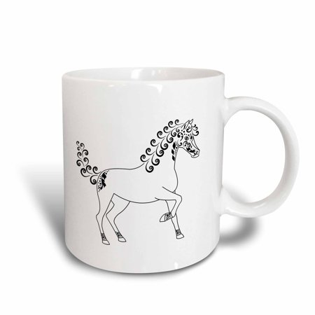 3dRose Horse Lover Gifts - Tattooed Horse Outline - White and Black, Ceramic Mug, 11-ounce