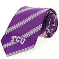 TCU Horned Frogs Woven Poly Striped Tie