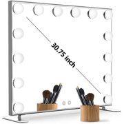 BEAUTME Lighted Vanity Mirror with Touch Control Design, Hollywood Makeup Mirrors with Lights, Tabletop or Wall Mounted Vanity Mirrors (Silver)