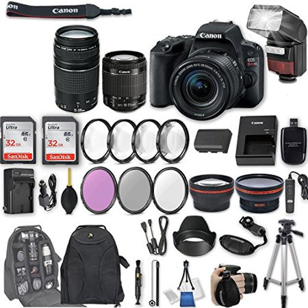 Canon EOS Rebel SL2 DSLR Camera with EF-S 18-55mm f/4-5.6 IS STM Lens + EF 75-300mm f/4-5.6 III + 2Pcs 32GB Sandisk Memory + Automatic Flash , Filter & Macro Kits , Backpack,