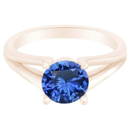 Round Simulated Sapphire Split Shank Solitaire Ring 1 Cttw 14k Rose Gold Over Sterling Silver-6.5