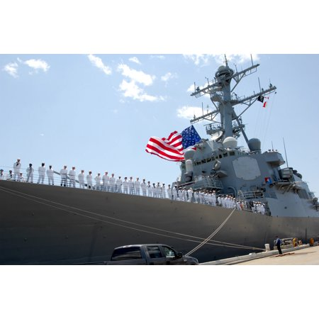 Laminated Poster Sailors Man The Rails As Guided Missile Destroyer Uss Donald Cook  Ddg 75  Prepares To Get Underway Poster Print 24 X 36