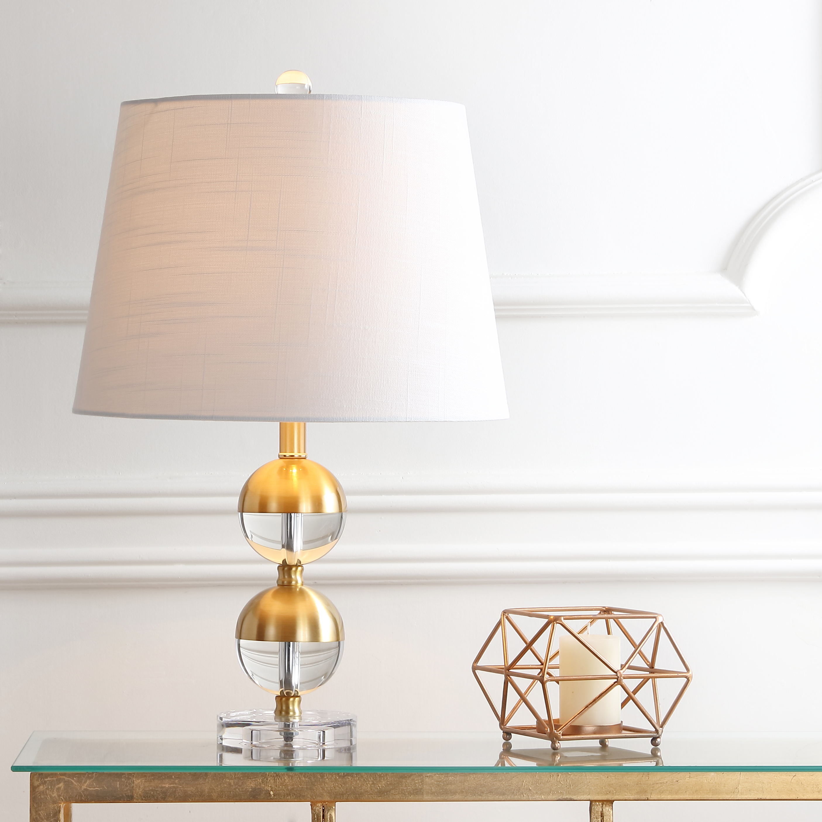 "Jules 23"" Crystal Mini LED Table Lamp, Brass"