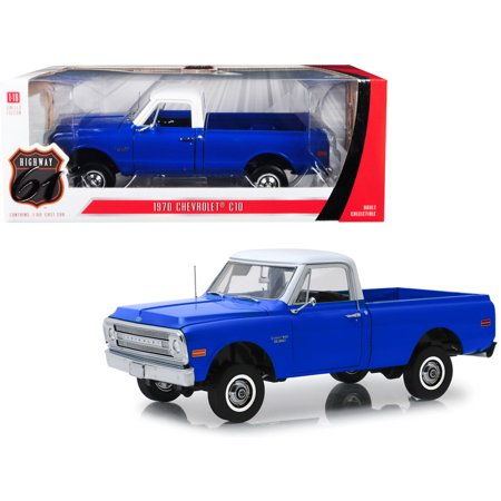 1970 Chevrolet C-10 Pickup Truck with Lift Kit Dark Blue with White Top 1/18 Diecast Model Car by Highway (1986 Chevrolet 10 Truck)