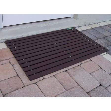 Mahogany Brown HDPE-MAT UV Resistant Heavy Duty Waterproof Front Door Mat | Stylish Handcrafted Recycled Plastic Poly Lumber Slats - Eco Friendly for Outdoor Entrance Patio Garage Entry (Recycled Lumber)