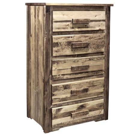Homestead Collection 5 Drawer Chest of Drawers, Stain & Clear Lacquer Finish Espresso Lacquer Finish
