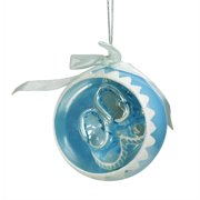 """3.5"""" Noble Gems Blue Baby Boys 1st Christmas Glass Ball Ornament with Booties"""