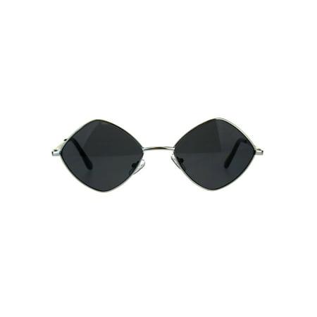 Mens Pimp Hippie Diamond Rectangular Square Metal Rim Sunglasses Silver Black ()