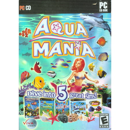 Aqua Mania PC - 5 Fish Simulation Games- My Ocean Sim + Rock 'Em Sock 'Em + My Sim Aquarium + Aqua Garden + Aqua Real 3D