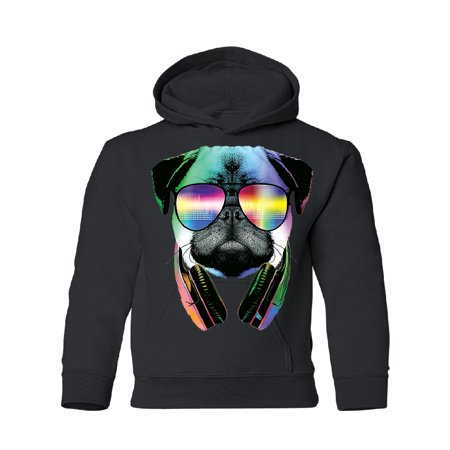 DJ Dog Pug Sun Glasses and Headphones Youth Hoodie Black Large