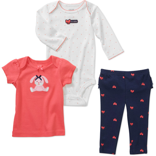 Child of Mine by Carters Newborn Girls' 3 Piece Bunny Hearts Tee's and Pant Set