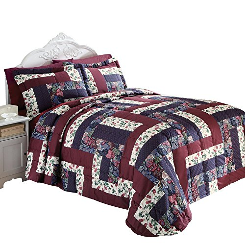 Collections Etc Caledonia Quilted Patchwork Bedspread, King, Multi by Collections Etc