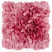 "18"" Cotton Candy Pink Ruffled Elegance Chevron Decorative Throw Pillow - Poly Filled"