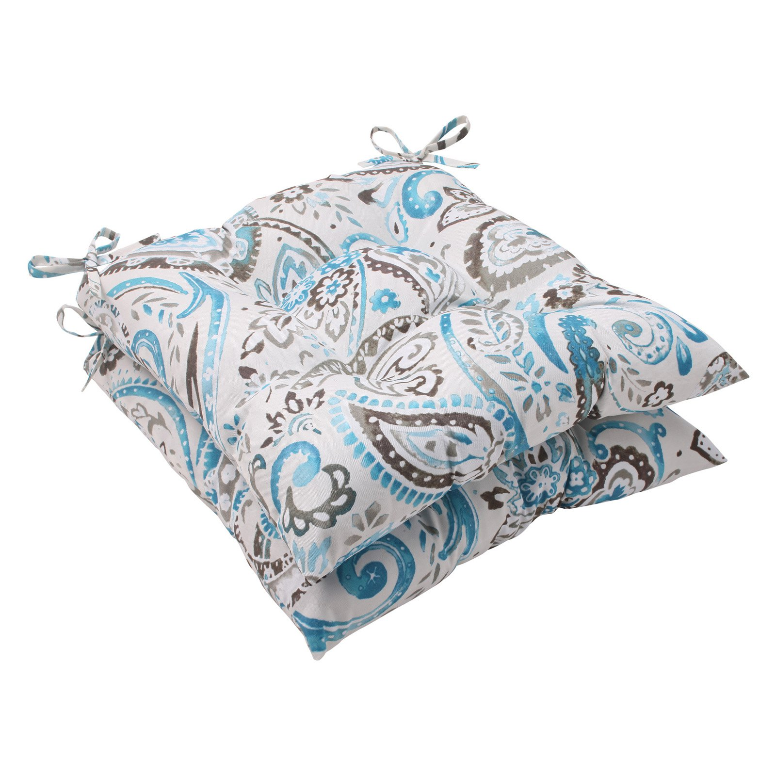Pillow Perfect Outdoor/ Indoor Vermilya Tidepool Wrought Iron Seat Cushion (Set of 2)