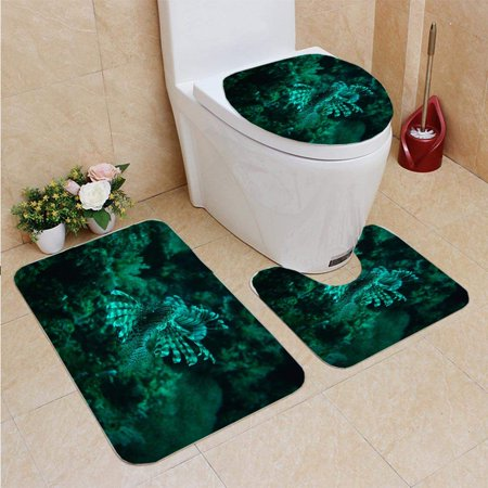 PUDMAD Flying Lion Fish 3 Piece Bathroom Rugs Set Bath Rug Contour Mat and Toilet Lid Cover ()