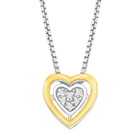 Petite Heart Pendant Necklace with Diamonds in Sterling Silver & 14kt Gold