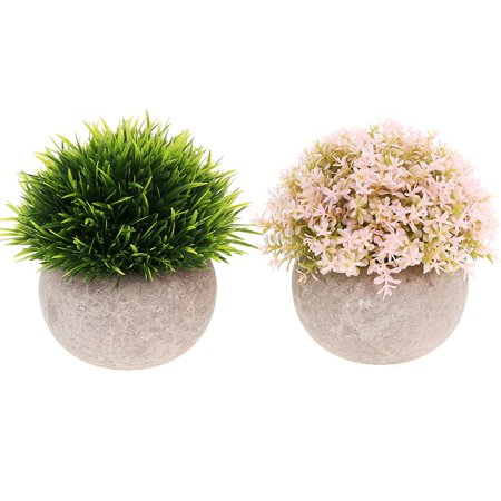 2 Pack Mini Artificial Plants Small Fakes Plants Topiary Shrubs