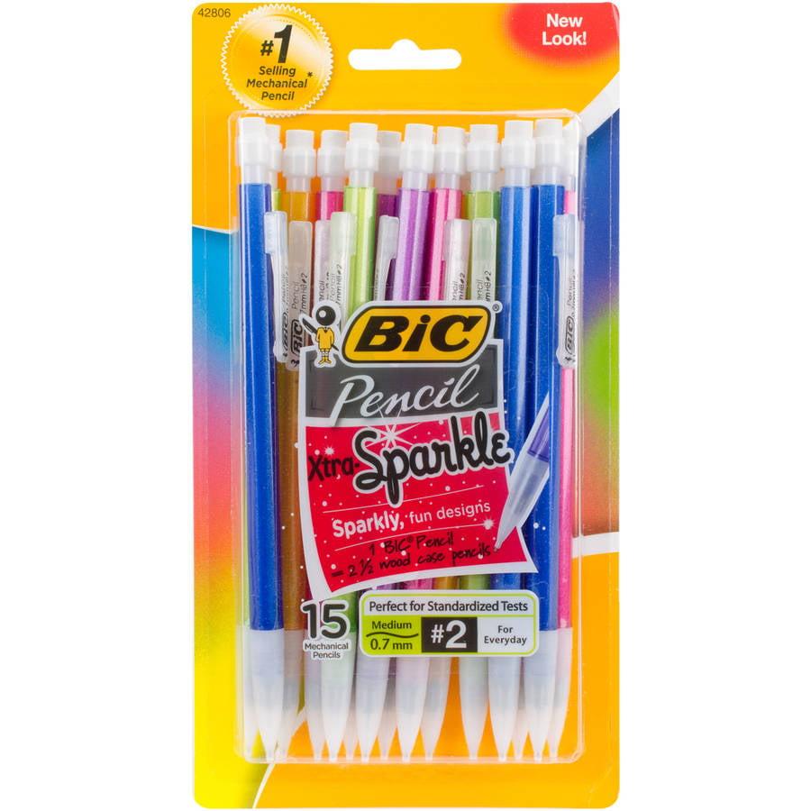 BIC Xtra Sparkle Mechanical Pencils, 15pk, Assorted Barrels