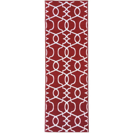 berrnour home rose collection red moroccan trellis design runner rug with non skid non slip. Black Bedroom Furniture Sets. Home Design Ideas