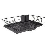 Home Basics 3-Piece Dish Drainer Set, Black