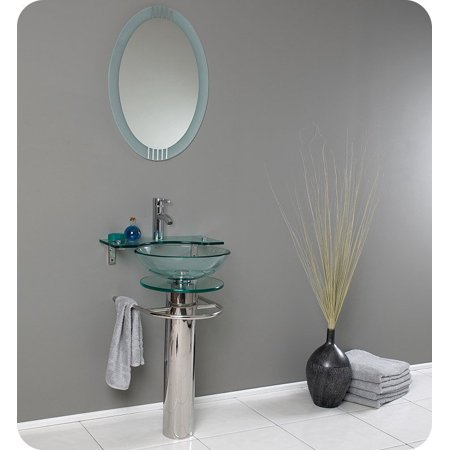 Fresca Fvn1019 Ovale 24 Modern Gl Bathroom Vanity With Frosted Edge Mirror