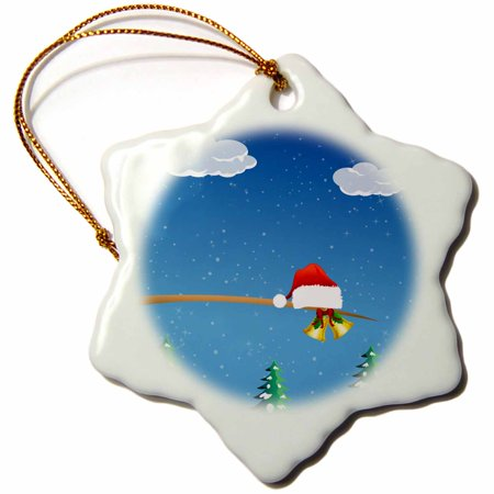 3dRose Cute Christmas Santa Hat With Gold Bells Sitting On A Tree Limb, Snowflake Ornament, Porcelain, 3-inch Porcelain Bell Ornament