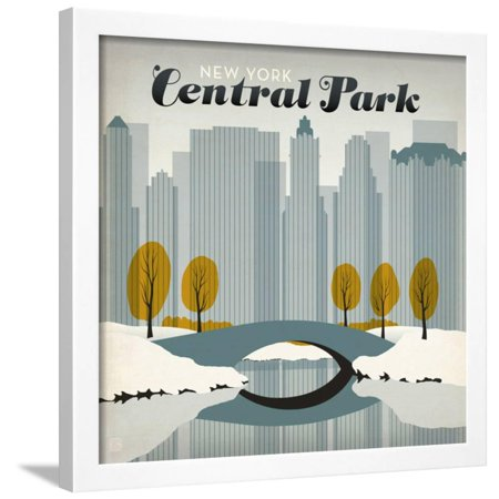 New York City: Early Snow In Central Park Art Deco Winter Travel Advertisement Framed Print Wall Art By Anderson Design Group - Halloween City Winter Park