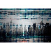 "Parvez Taj ""Skyline at Night"" Print on Brushed Aluminum"