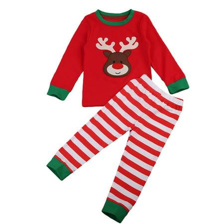 Baby Kids Christmas Pajama Long Sleeve Reindeer T-shirt With Stripes Pant Sleepwear 4-5 Year - Kids Reindeer Pajamas