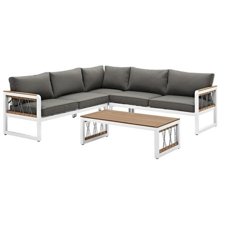 4 Piece Patio Sectional Set in White with Gray Cushions