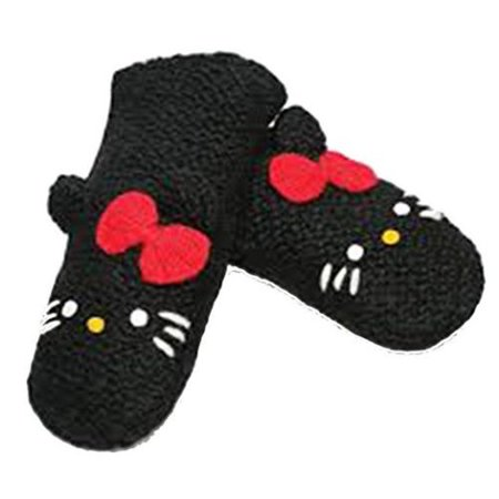 Delux Knitwits Hello Kitty Kids Wool Mittens Black Children 3-6 yrs Warm & (Furry Wool)