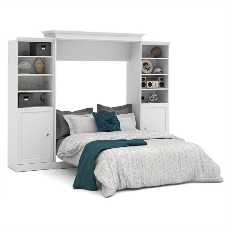 Atlin Designs 115'' Queen Wall Bed with 2 Piece 2 Door Storage Unit in White