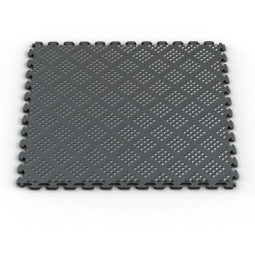 Norsk NSMPRD6MG Raised Diamond Pattern PVC Floor Tiles, 13.95-Square Feet, Metallic Graphite, 6-Pack