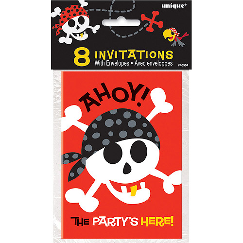 Pirate Party Invitations, 8 Count