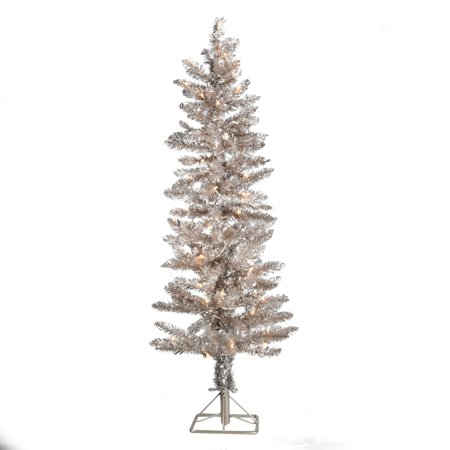 Holiday Time Pre-Lit Tinsel Rose Gold Tree, 4 feet ()