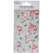 Simply Creative Decoupage Paper 18.8cmX35cm 4/Pkg-Dragonfly Bloom
