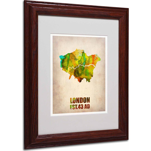 "Trademark Fine Art ""London Watercolor Map"" Matted Framed Art by Naxart, Wood Frame"