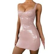 Women Pu Leather Tights Bandage Bodycon Sleeveless Evening Club Short Mini Dress