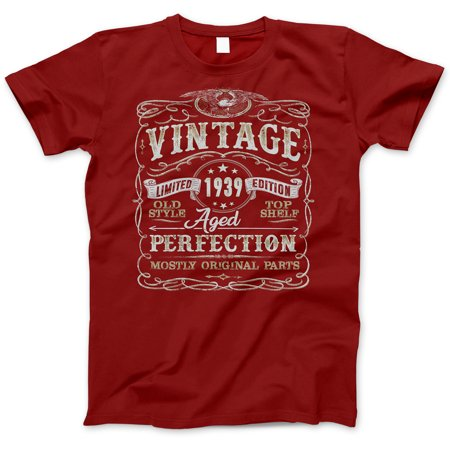 80th Birthday Gift T-Shirt - Born In 1939 - Vintage Aged 80 Years Perfection - Short Sleeve - Mens - Red T Shirt - (2019 Version)