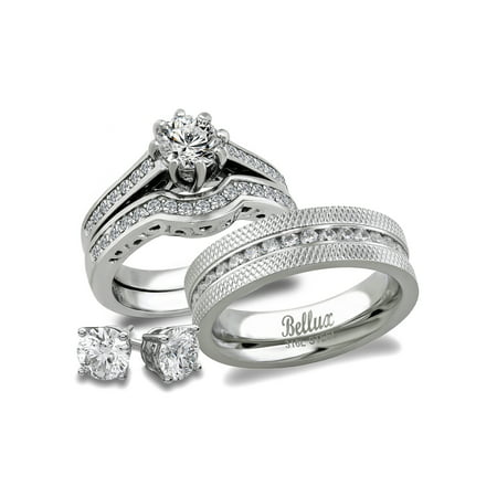 (His and Hers Stainless Steel CZ Bridal Matching Wedding Ring Set + Sterling Silver Stud Earrings)