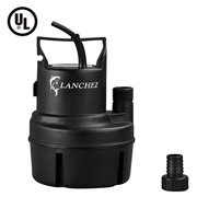Lanchez Q2007 1/6 HP Submersible Utility Pump Multi-Purpose Electric Water Transfer Pump with 25ft Power Cord for Clean Water