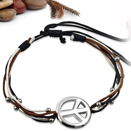 Fashion Ball Beads Peace Sign Multi Color Wrap Rope Adjustable -