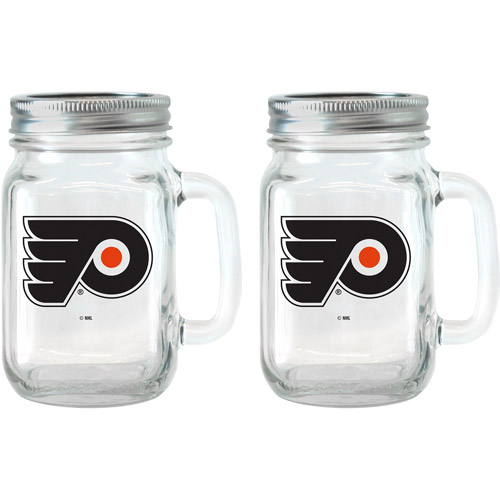 NHL 16 oz Philadelphia Flyers Glass Jar with Lid and Handle, 2pk